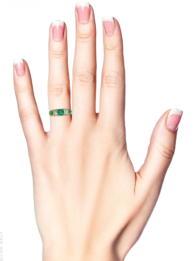 Victorian 18ct Gold, Emerald & Diamond Five Stone Carved Half Hoop Ring