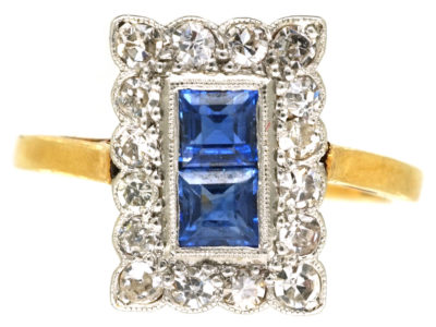 Art Deco 18ct Gold & Platinum, Diamond & Sapphire Rectangular Ring