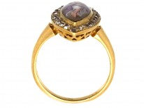 Victorian 18ct Gold & Diamond & Enamel Miniature of a Nymph Ring