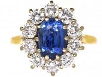 18ct Gold, Ceylon Sapphire & Diamond Oval Cluster Ring