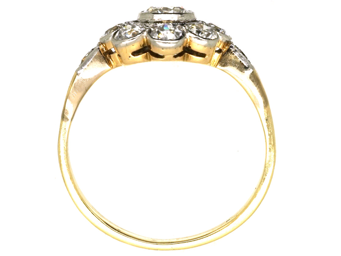 Early 20th Century 14ct White Gold Diamond Cluster Ring With Diamond Shoulders