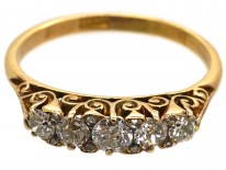 Victorian 18ct Gold, Five Stone Diamond Carved Half Hoop Ring