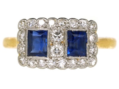 Art Deco 18ct Gold & Platinum, Sapphire & Diamond Two Square Ring
