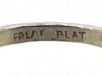 French Platinum Art Deco Square Set Diamond Target Ring