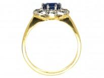 18ct Gold & Platinum Sapphire & Diamond Oval Cluster Ring