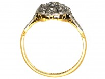 Art Deco Oval Diamond Cluster Ring With Diamond Shoulders