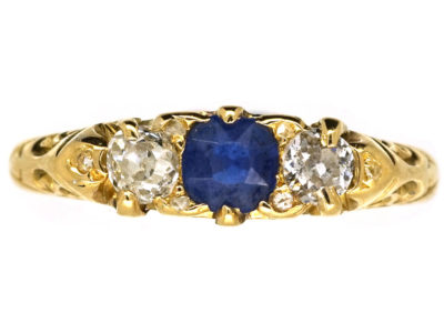 Victorian 18ct Gold, Sapphire & Diamond Three Stone Carved Half Hoop Ring