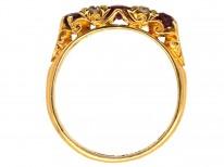 Edwardian 18ct Gold, Five Stone Burma Ruby & Diamond Ring