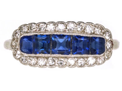 Edwardian Platinum, Sapphire & Diamond Boat Shaped Ring