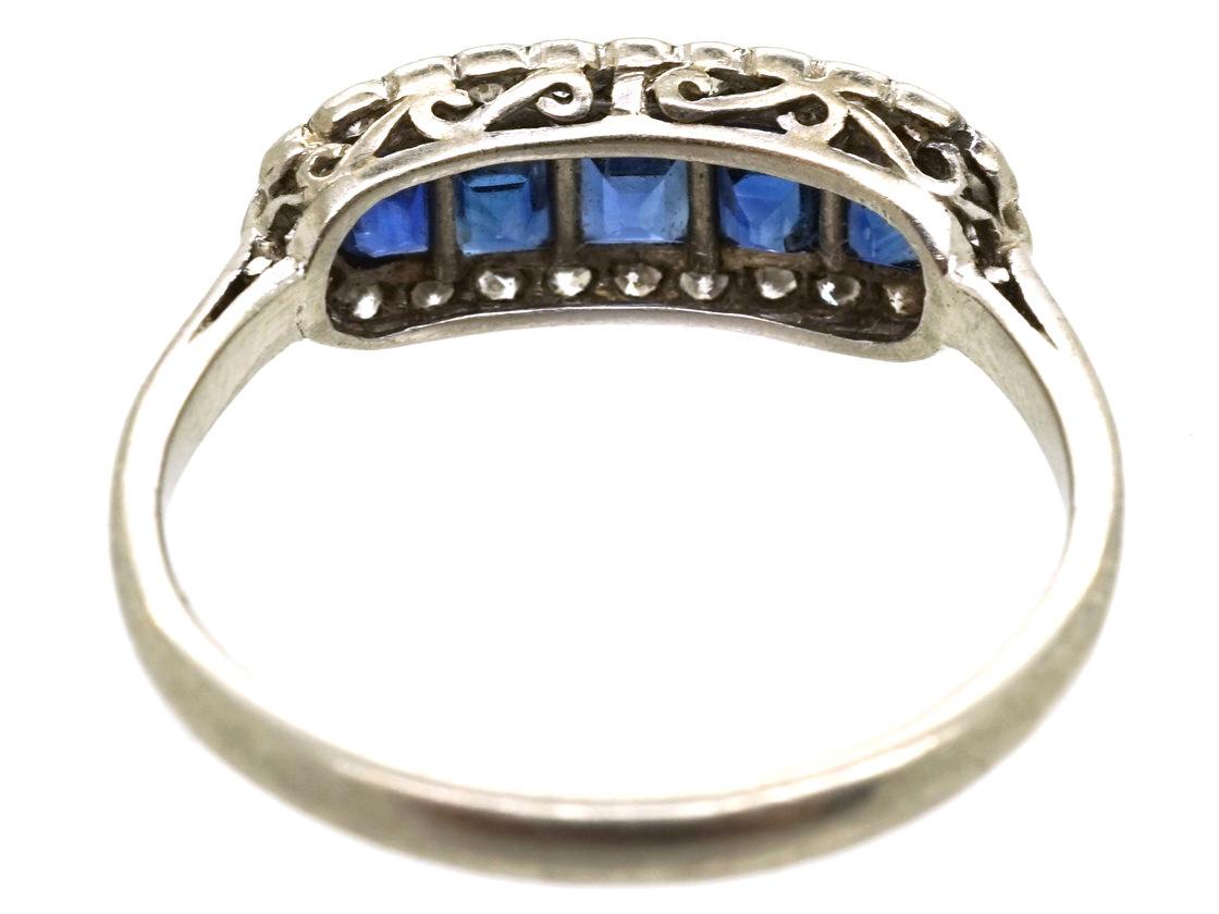 Edwardian Platinum, Sapphire & Diamond Boat Shaped Ring