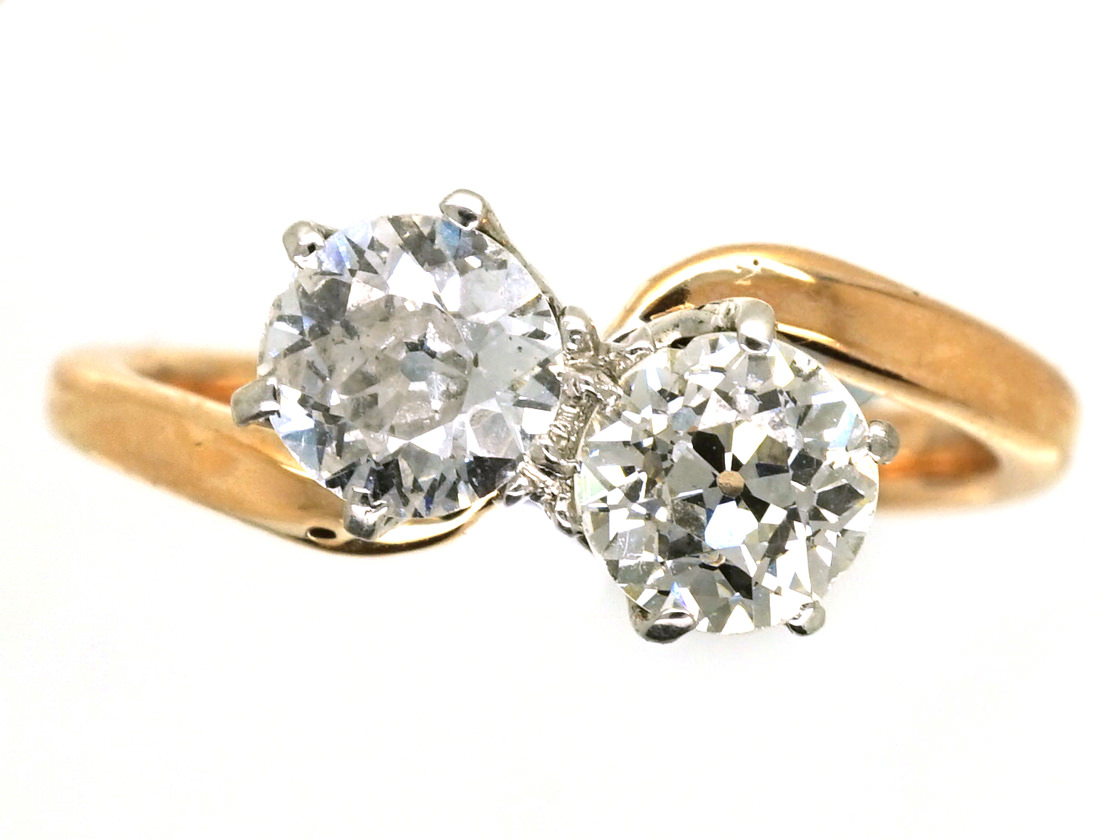 Edwardian 18ct Gold, Two Stone Diamond Crossover Ring