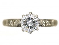 18ct Gold & Platinum, Diamond Solitaire Ring With Diamond Shoulders