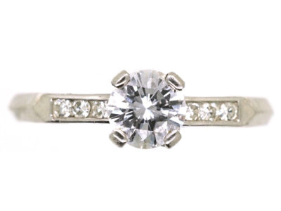 Platinum & Diamond Solitaire Ring With Diamond Set Shoulders