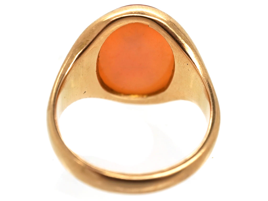 9ct Gold & Carnelian Intaglio with Crest Signet Ring