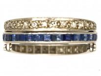 Art Deco Platinum, Diamond, Sapphire & Ruby Flipover Ring
