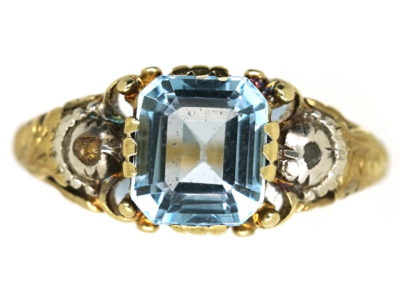 Regency 15ct Gold Aquamarine & Rose Diamond Ring
