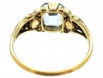 Regency 15ct Gold Aquamarine & Rose Diamond Ring