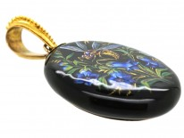 Victorian 18ct Gold & Silver Enamel Oval Pendant of a Bee & Harebells