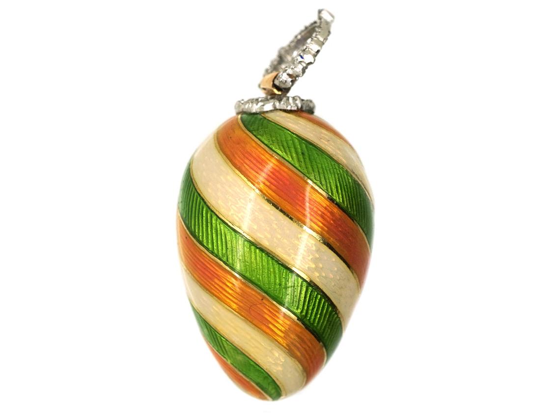 Edwardian Gold, Enamel & Diamond Egg Pendant