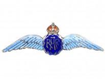Silver & Enamel RAF Wings Sweet Heart Brooch