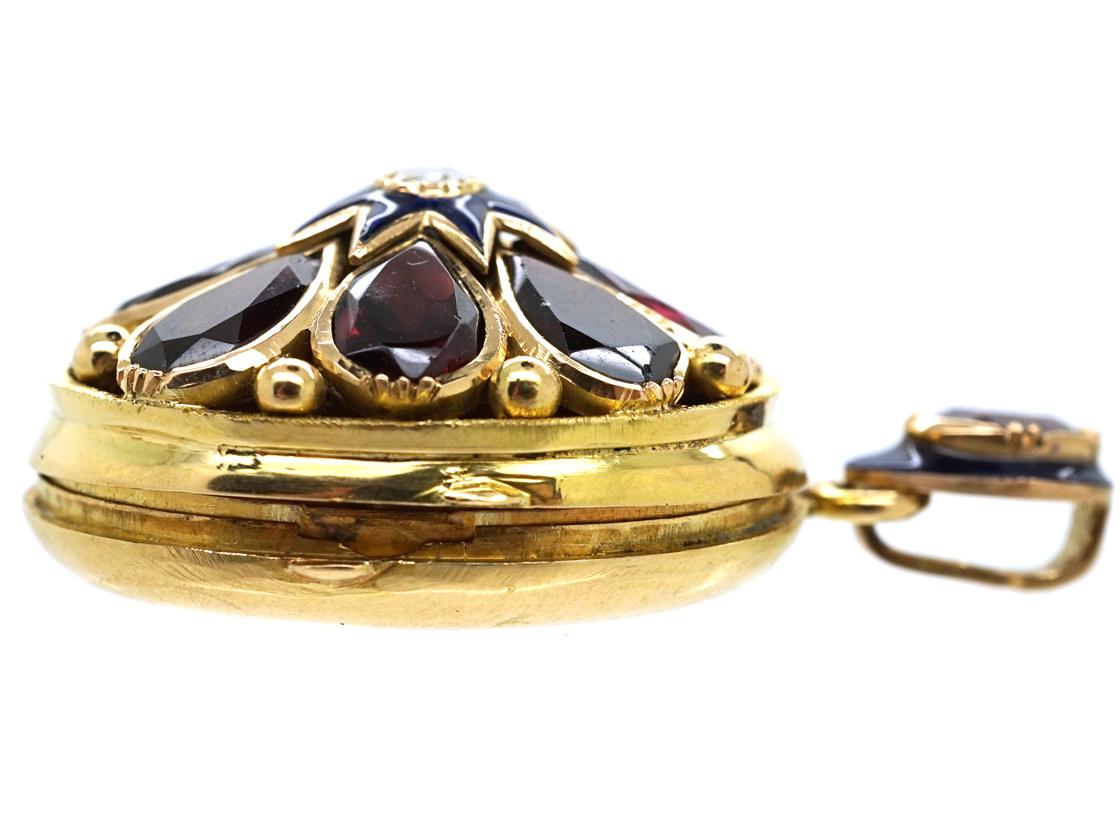 French 18ct Gold Locket Set With Garnets & a Diamond