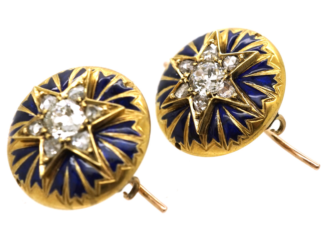 Victorian 18ct Gold Star Enamel & Diamond Round Earrings