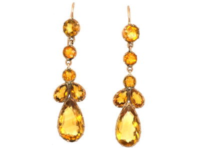 Victorian Gold & Citrine Drop Earrings
