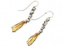 French Belle Epoque Topaz & Diamond Drop Earrings