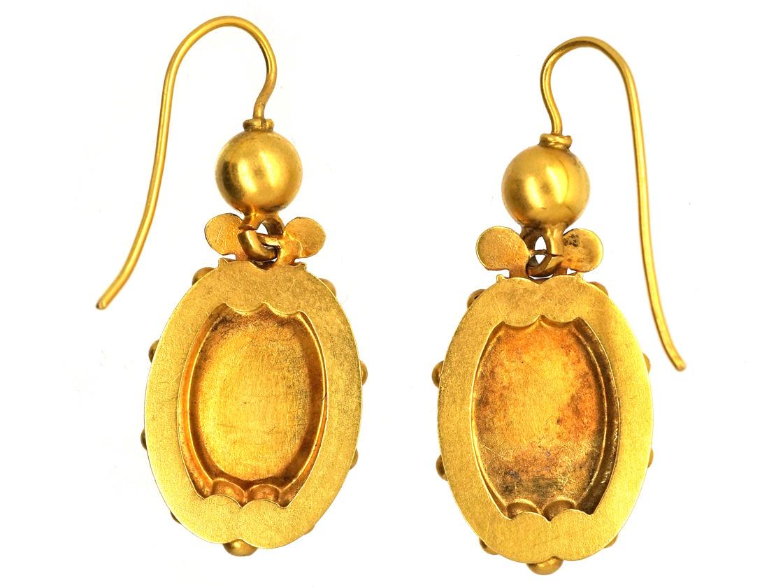 Victorian 15ct Gold & Diamond Drop Earrings