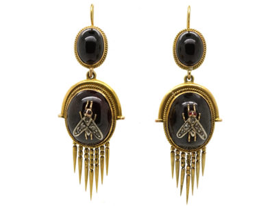 Victorian 15ct Gold Earrings Set With Cabochon Garnets & Diamond Set Flies