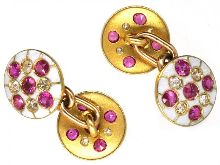 Edwardian 18ct Gold Diamond, Ruby & White Enamel Round Cufflinks