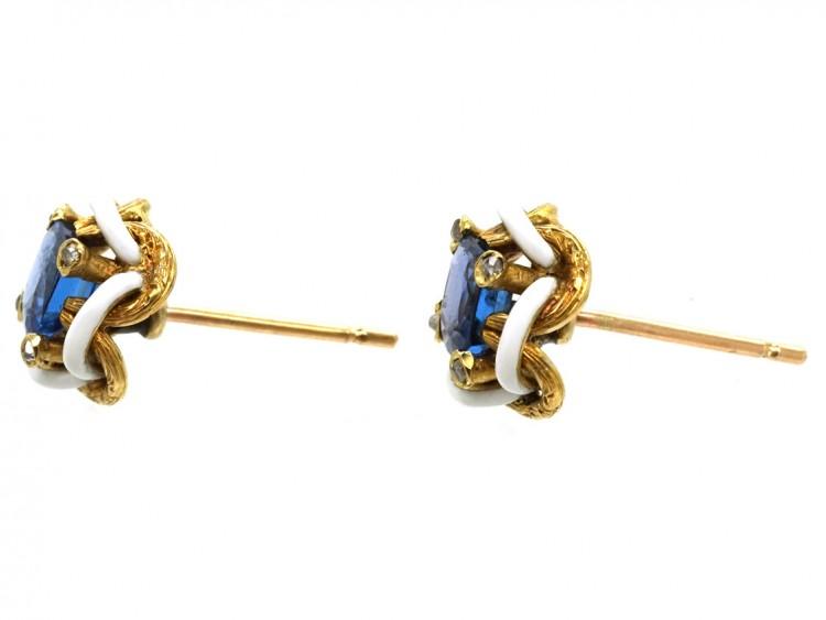 Edwardian Ceylon Sapphire, Rose Diamond & White Enamel Earrings