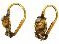 French Regency 18ct Gold Rose Earrings Set With Opals & Rose Diamonds