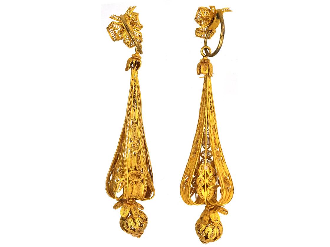 Georgian 18ct Gold Long Drop Earrings