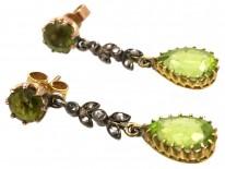 Edwardian 15ct Gold, Rose Diamond & Peridot Drop Earrings