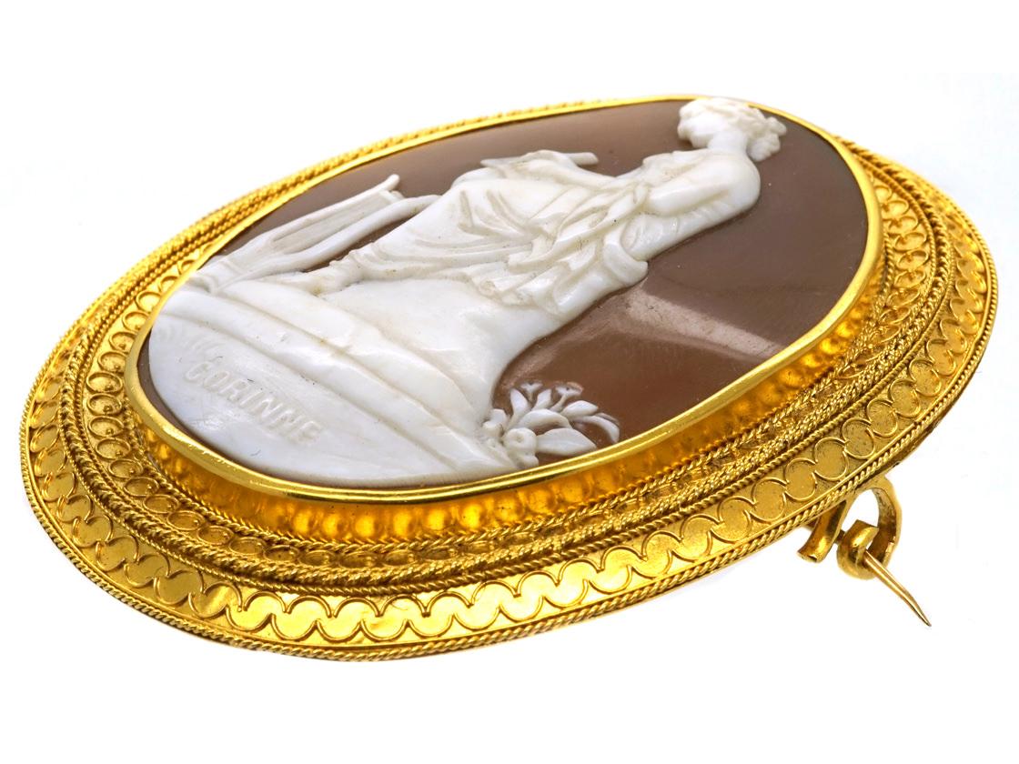 Victorian 18ct Gold Cameo Brooch in Original Case of Corinne