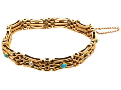 Edwardian 15ct Gold Gate Bracelet Set With Turquoise & Natural Split Pearls