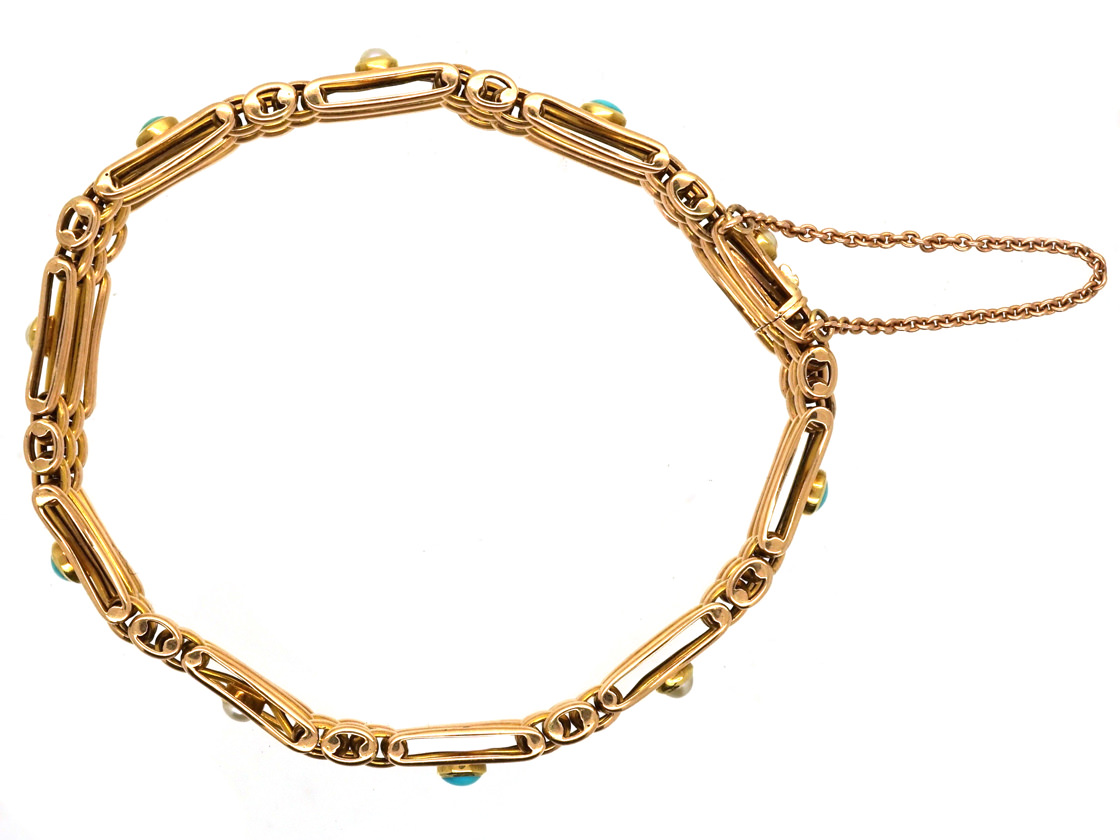 Edwardian 15ct Gold Gate Bracelet Set With Turquoise & Natural Split Pearls