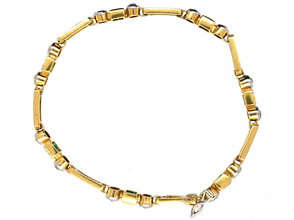 Art Deco 18ct Gold & Platinum, Emerald & Diamond Bracelet