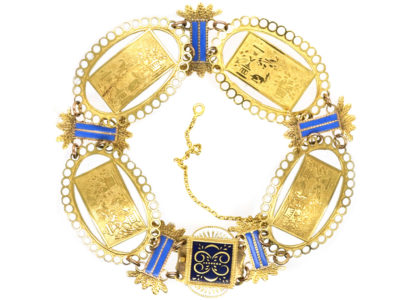 French 18ct Gold & Enamel Regency Bracelet
