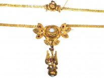 French Regency St Esprit Necklace Set With Diamonds, Opals & Rubies