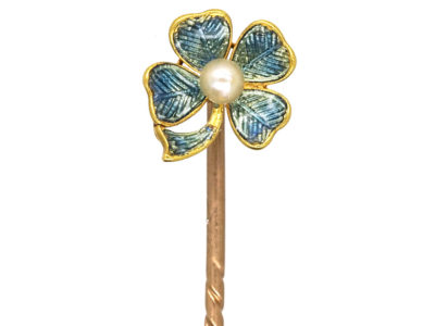 Edwardian 15ct Gold & Enamel Four Leaf Clover Tie Pin