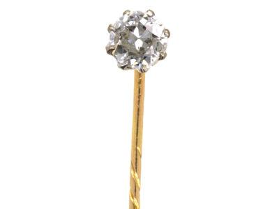 Edwardian Single Stone Diamond Tie Pin