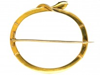 Large Victorian 15ct Gold Oval Snake Brooch