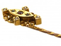 Victorian 15ct Gold Tie Pin Set With a Ruby & Rose Diamonds