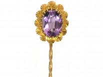 Edwardian 15ct Gold & Amethyst Tie Pin
