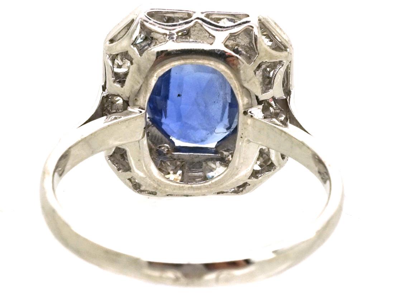 18ct White Gold Sapphire & Diamond Rectangular Cluster Ring