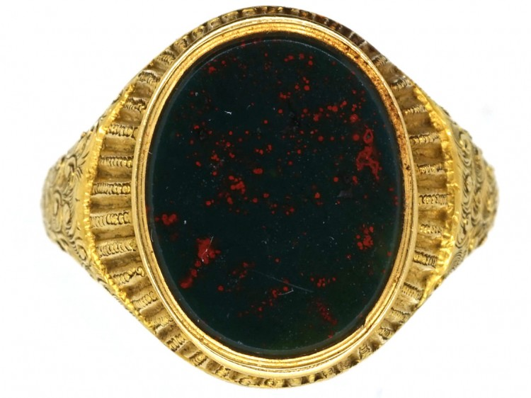 Victorian 18ct Gold & Bloodstone Signet Ring - The Antique Jewellery Company