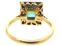 Art Deco 18ct Gold & Platinum, Rectangular Emerald & Diamond Ring