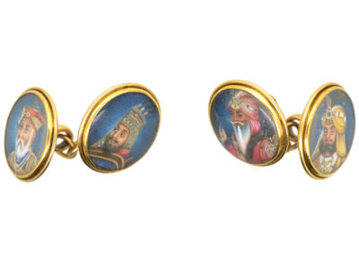 Victorian 18ct Gold Indian Portrait Miniature Cufflinks